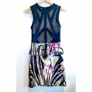 Bebe Colorful Multimedia Ruffle Dress